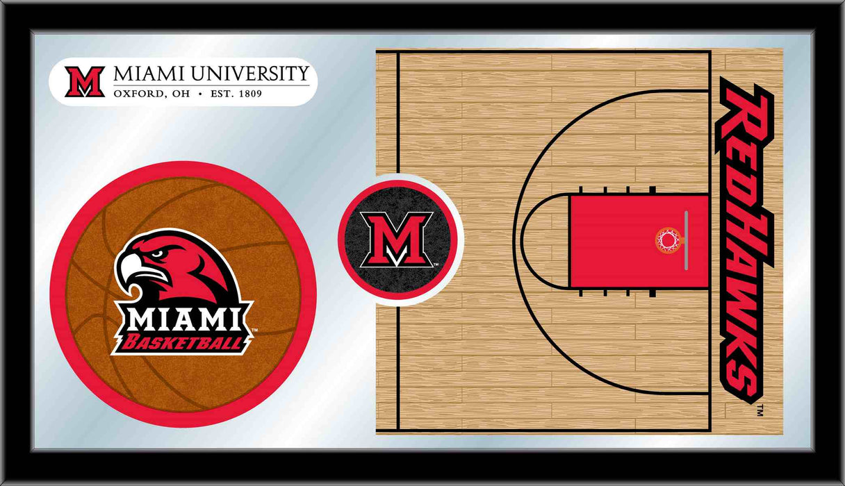 Miami University (OH) Basketball Bar Mirror | Man Cave Authority | MBsktMia-OH