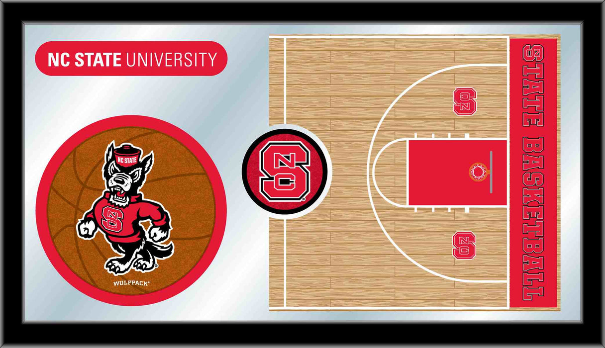 North Carolina State University Basketball Bar Mirror | Man Cave Authority | MBsktNCarSt