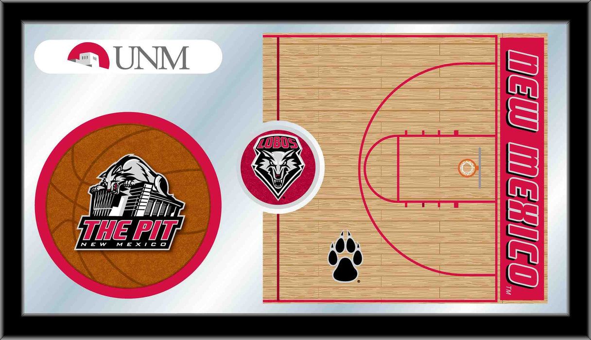 University of New Mexico Basketball Bar Mirror | Man Cave Authority | MBsktNewMex
