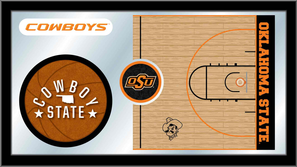Oklahoma State University Basketball Bar Mirror | Man Cave Authority | MBsktOKStUn