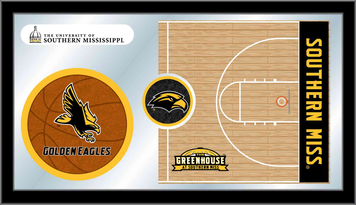 University of Southern Mississippi Basketball Bar Mirror | Man Cave Authority | MBsktSouMis