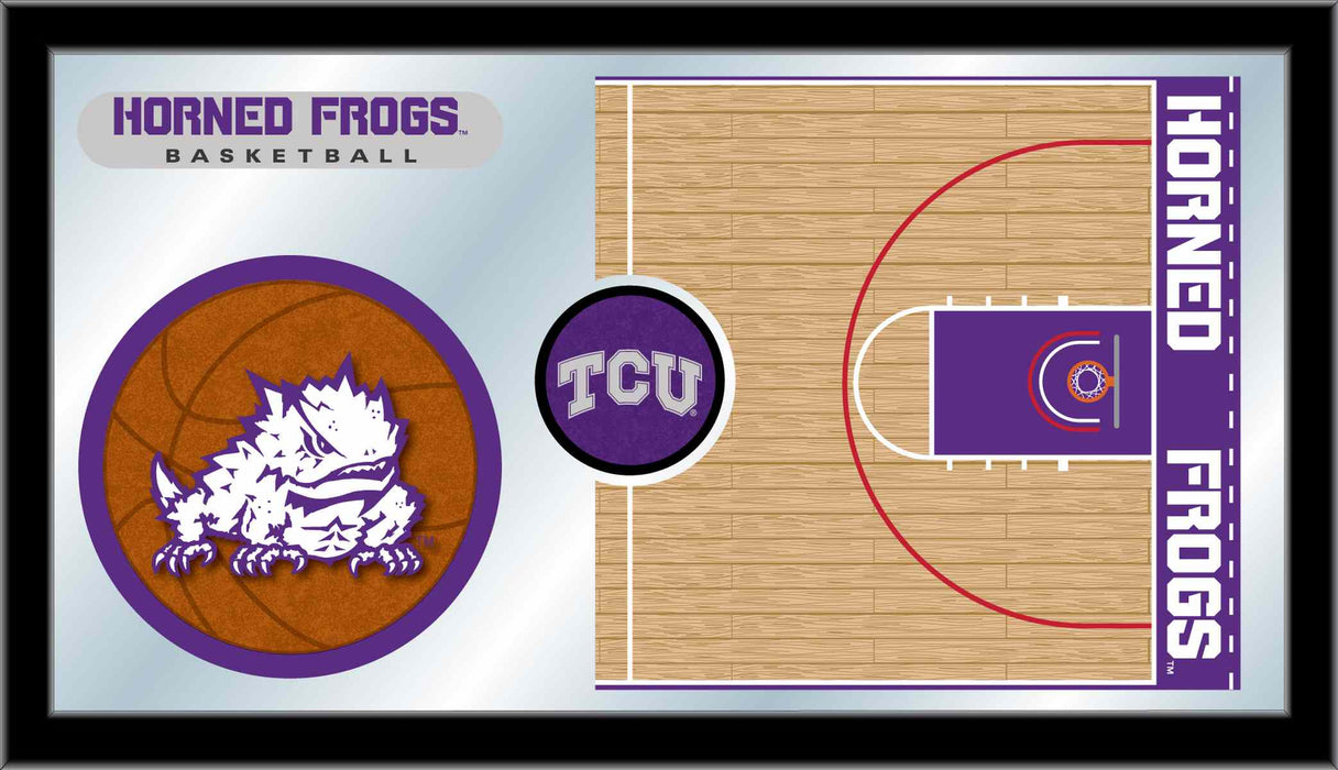 Texas Christian University (TCU) Basketball Bar Mirror | Man Cave Authority | MBsktTexChr