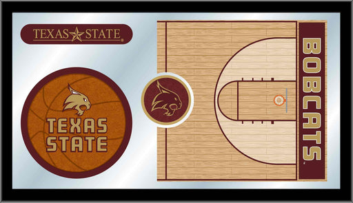 Texas State University Basketball Bar Mirror | Man Cave Authority | MBsktTexsSt