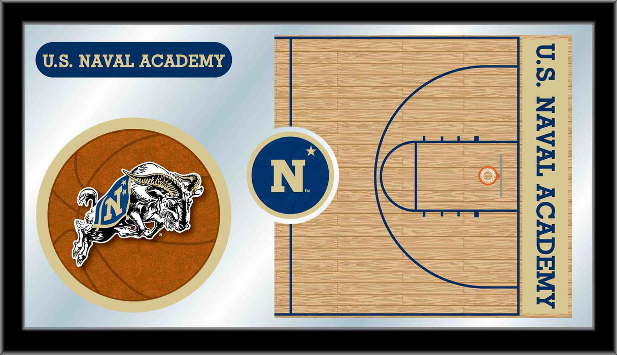 US Naval Academy Basketball Bar Mirror | Man Cave Authority | MBsktUSNavA