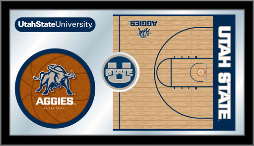 Utah State University Basketball Bar Mirror | Man Cave Authority | MBsktUtahSt