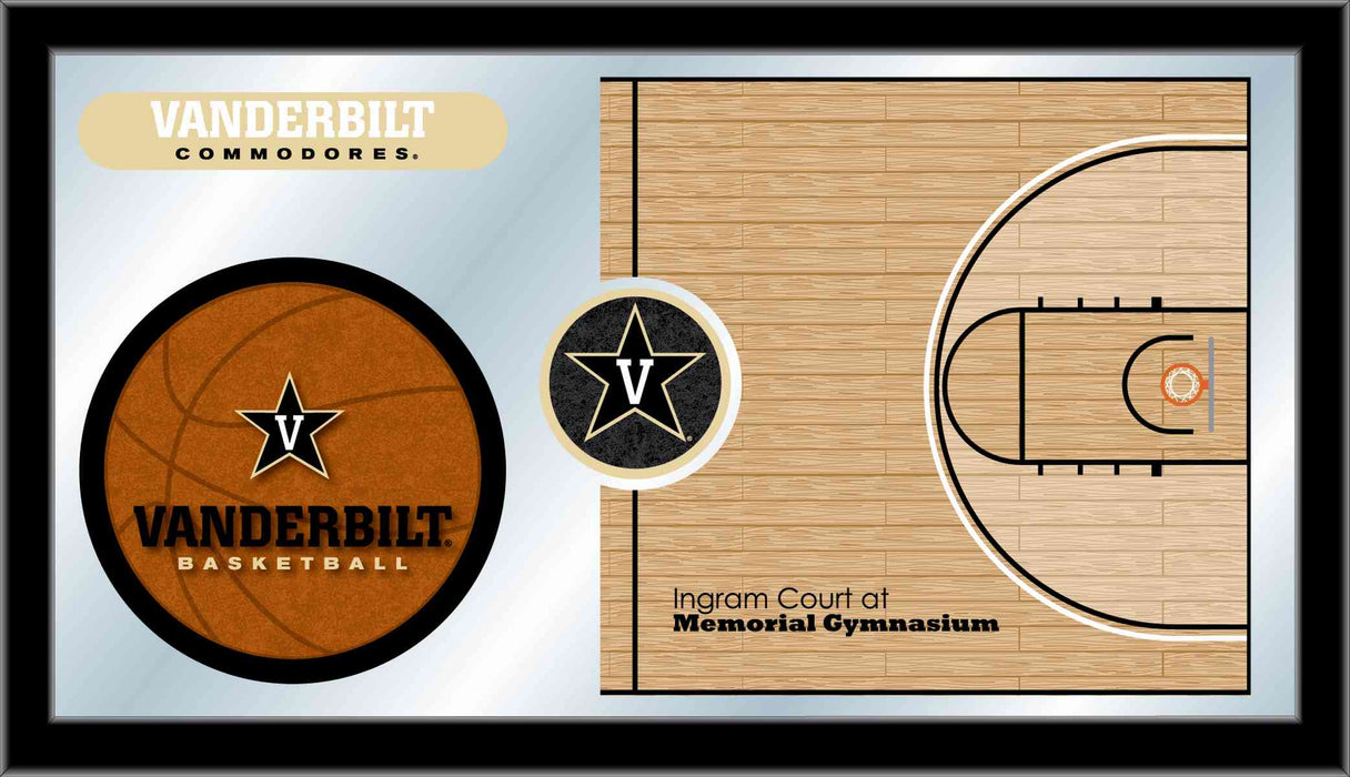 Vanderbilt University Basketball Bar Mirror | Man Cave Authority | MBsktVander