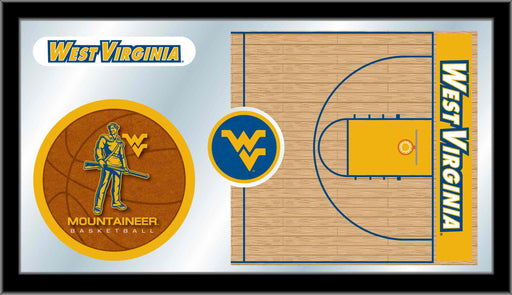 West Virginia University Basketball Bar Mirror | Man Cave Authority | MBsktWestVA