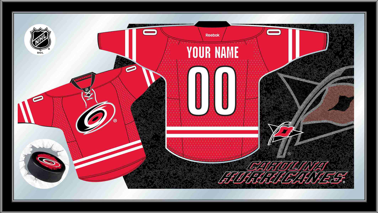 Carolina Hurricanes Custom Jersey Bar Mirror | Man Cave Authority | MJrsyCarHur