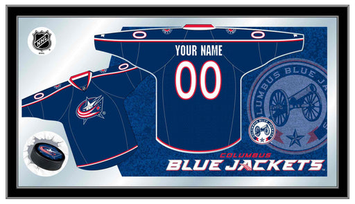 Columbus Blue Jackets Custom Jersey Bar Mirror | Man Cave Authority | MJrsyColBlu