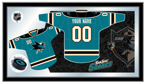San Jose Sharks Custom Jersey Bar Mirror | Man Cave Authority | MJrsySJShar