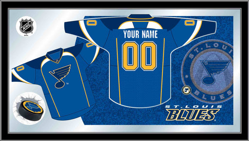 St Louis Blues Custom Jersey Bar Mirror | Man Cave Authority | MJrsySTLBlu
