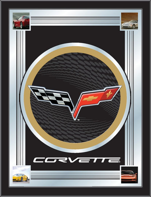 Corvette C6 Black and Gold Bar Mirror | Man Cave Authority | MLogoC6BKGD
