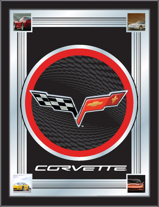 Corvette C6 Black and Red Bar Mirror | Man Cave Authority | MLogoC6BKRD