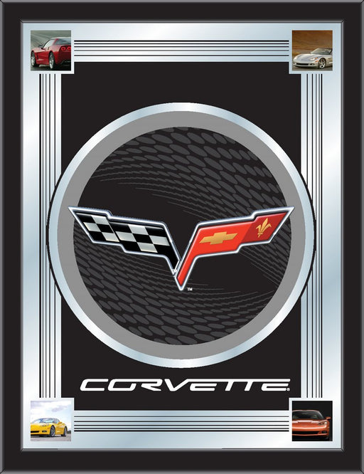 Corvette C6 Black and Silver Bar Mirror | Man Cave Authority | MLogoC6BKSL