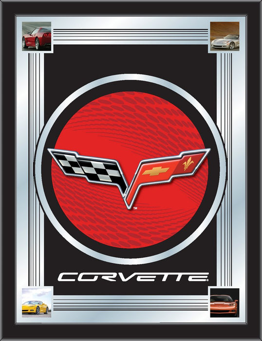Corvette C6 Red and Black Bar Mirror | Man Cave Authority | MLogoC6RDBK