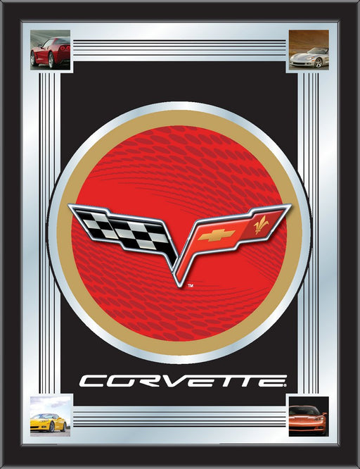 Corvette C6 Red and Gold Bar Mirror | Man Cave Authority | MLogoC6RDGD