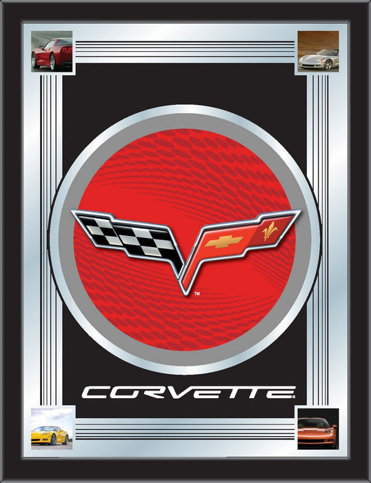 Corvette C6 Red and Silver Bar Mirror | Man Cave Authority | MLogoC6RDSL
