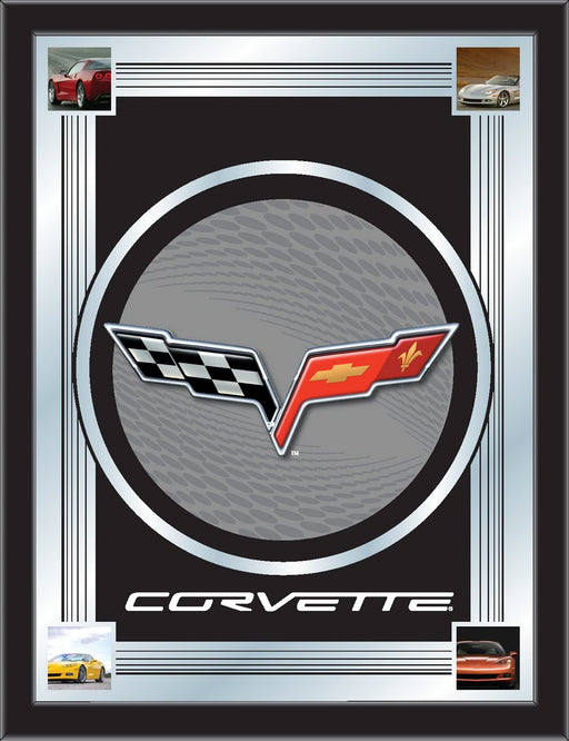 Corvette C6 Silver and Black Bar Mirror | Man Cave Authority | MLogoC6SLBK