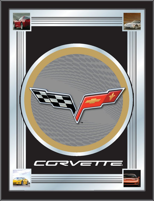 Corvette C6 Silver and Gold Bar Mirror | Man Cave Authority | MLogoC6SLGD