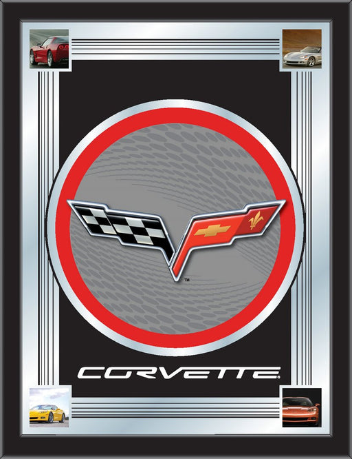 Corvette C6 Silver and Red Bar Mirror | Man Cave Authority | MLogoC6SLRD