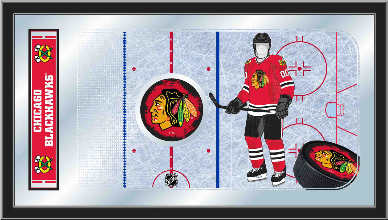 Chicago Blackhawks Hockey Rink Bar Mirror | Man Cave Authority | MRinkChiHwk