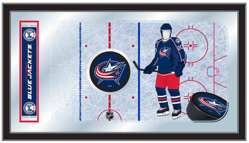 Columbus Blue Jackets Hockey Rink Bar Mirror | Man Cave Authority | MRinkColBlu