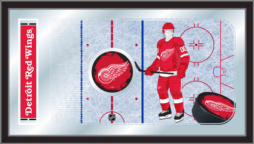 Detroit Red Wings Hockey Rink Bar Mirror | Man Cave Authority | MRinkDetRed