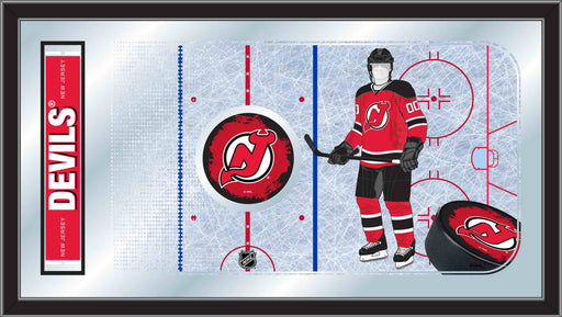 New Jersey Devils Hockey Rink Bar Mirror | Man Cave Authority | MRinkNJDevl