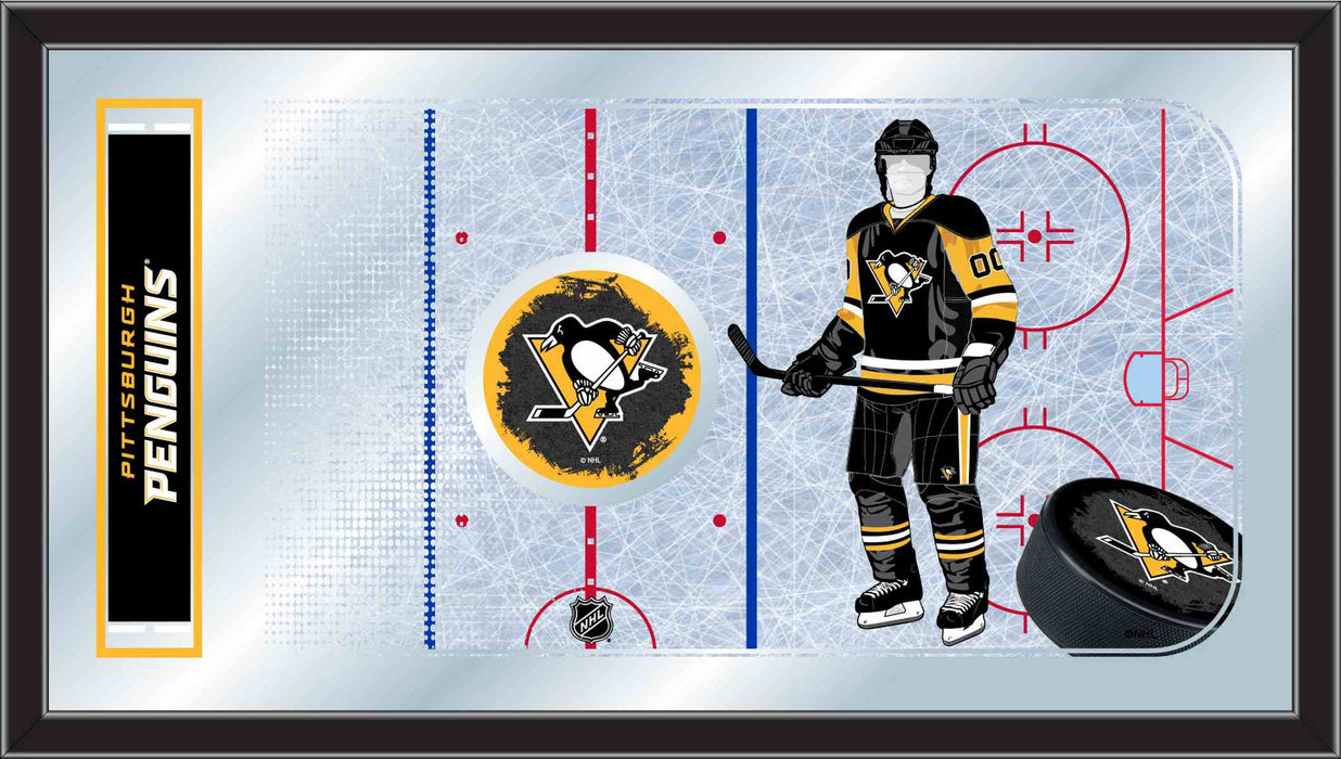 Pittsburgh Penguins Hockey Rink Bar Mirror | Man Cave Authority | MRinkPitPen