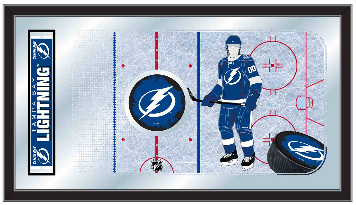 Tampa Bay Lightning Hockey Rink Bar Mirror | Man Cave Authority | MRinkTBLght