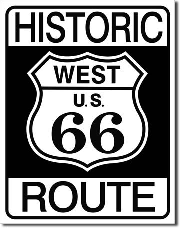 Historic Route 66 Tin Sign | Man Cave Authority | 1036