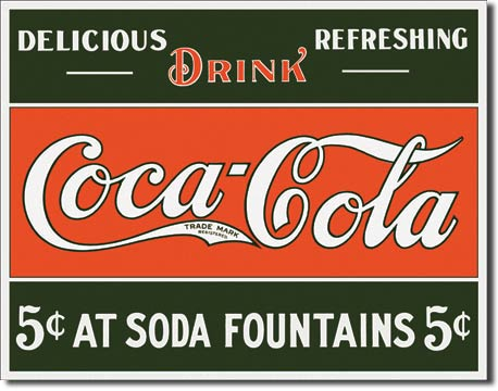 Coke Five Cents at Fountain Tin Sign | Man Cave Authority | 1052