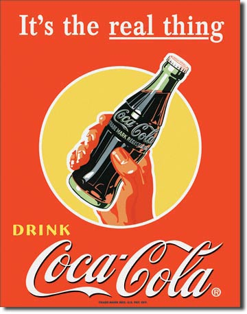 Coke Bottle Real Thing Tin Sign | Man Cave Authority | 1053
