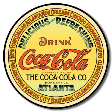 Coke Round Keg Label Tin Sign | Man Cave Authority | 1070