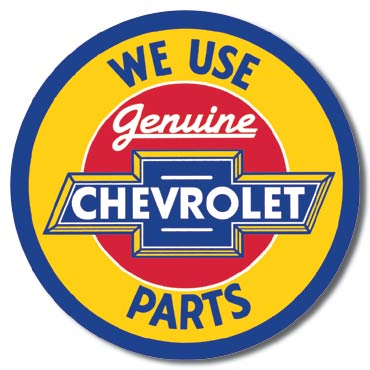 Chevy Round Geniune Parts Tin Sign | Man Cave Authority | 1072