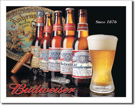 Budweiser History of Bud Tin Sign | Man Cave Authority | 1155