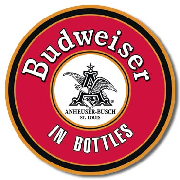 Budweiser in Bottles Round Tin Sign