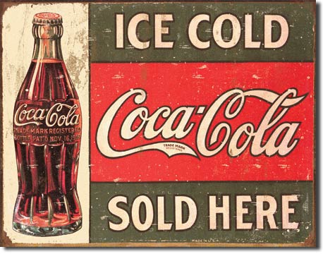 Coke Ice Cold Sold Here Tin Sign | Man Cave Authority | 1299