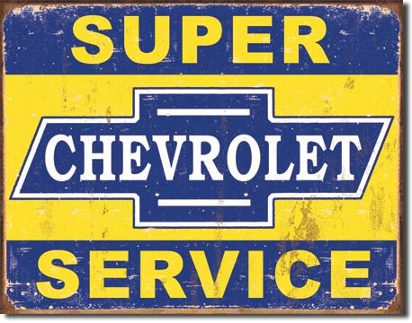 Super Chevy Service Tin Sign | Man Cave Authority | 1355