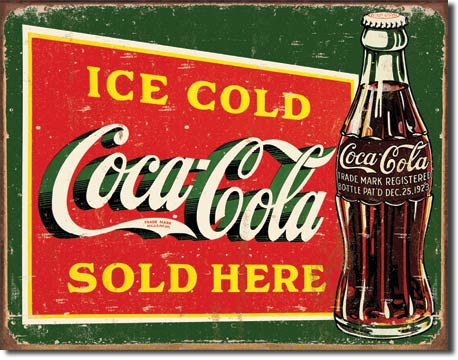 Coke Ice Cold Green Tin Sign | Man Cave Authority | 1393