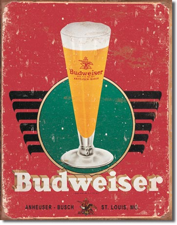 Budweiser Retro Glass and Logo Tin Sign | Man Cave Authority | 1483