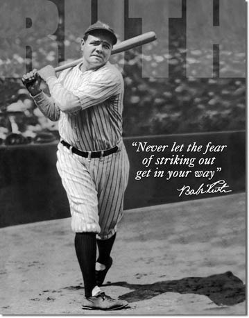 Babe Ruth No Fear Tin Sign | Man Cave Authority | 1511