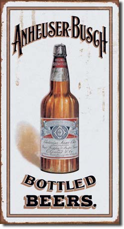 Anheuser Busch Bottled Beers Long Tin Sign | Man Cave Authority | 1549