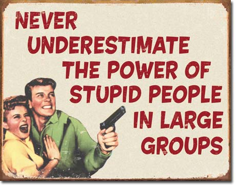Never Understimate the Power of Stupid People Tin Sign | Man Cave Authority | 1553