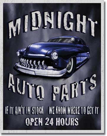 Legends Midnight Auto Parts Tin Sign | Man Cave Authority | 1564