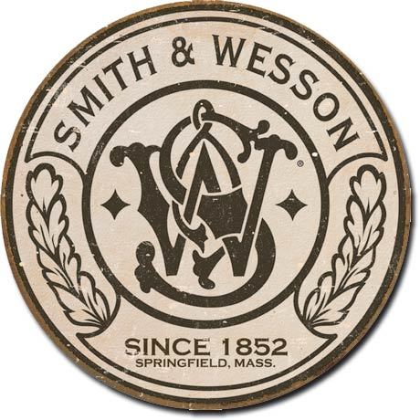 Smith & Wesson Round Logo Tin Sign | Man Cave Authority | 1608
