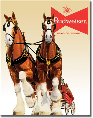 Budweiser Clydesdale Team Tin Sign | Man Cave Authority | 1631