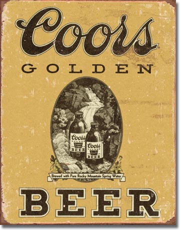 Coors Golden Vintage Tin Sign | Man Cave Authority | 1648