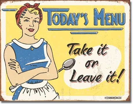 Today's Menu Tin Sign | Man Cave Authority | 1654