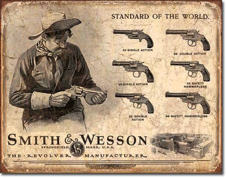 Smith & Wesson Revolver Manufacturer Tin Sign | Man Cave Authority | 1743